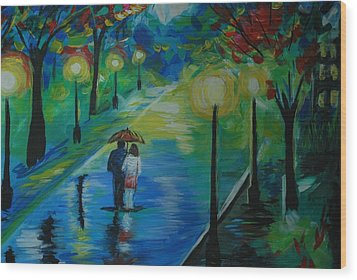 Wood Print featuring the painting Moonlight Stroll Series 1 by Leslie Allen