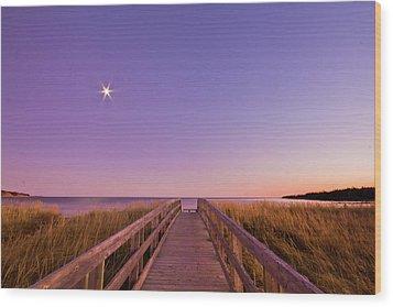 Moonlit Boardwalk At Beach Wood Print by Nancy Rose