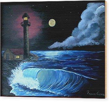 Moonlit Ocean Wood Print by Fram Cama