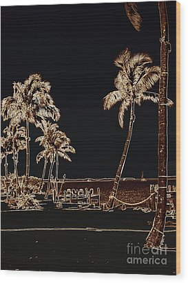 Moonlit Palms Wood Print by Rene Triay Photography