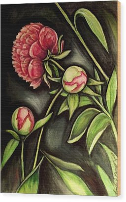 Moonlit Peonies Wood Print