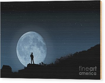 Wood Print featuring the photograph Moonlit Solitude by Steve Purnell