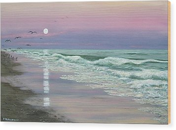 Moonrise - Golden Mile Wood Print by Kathleen McDermott