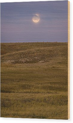Moonrise Over Badlands South Dakota Wood Print by Steve Gadomski