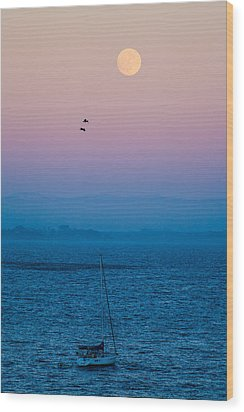 Moonrise Over Capitola Wood Print by Tommy Farnsworth