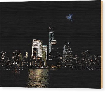 Moonrise Over Freedom Tower Wood Print by Lewis Mengersen