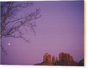Moonrise Over Oak Creek Canyon Wood Print by Stockbyte