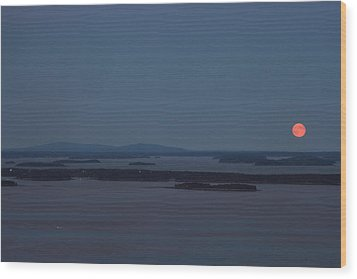 Moonrise Over Penobscot Bay And Acadia National Park From Camden Hills Wood Print by John Burk