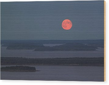 Moonrise Over Penobscot Bay From Camden Hills Wood Print by John Burk