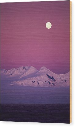 Moonrise Over Snowy Mountain Wood Print by Stockbyte