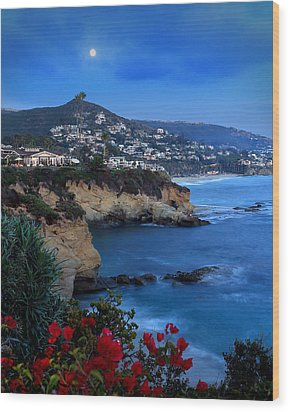 Moonrise Over Treasure Island Beach Wood Print by Dave Sribnik