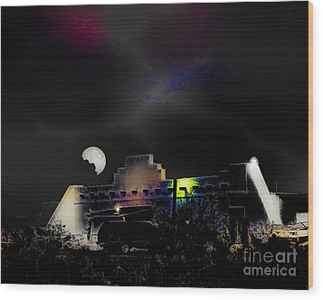Moonset - Wild Horse Saloon Wood Print by Arne Hansen