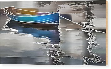 Moored Wood Print by Alice Gipson