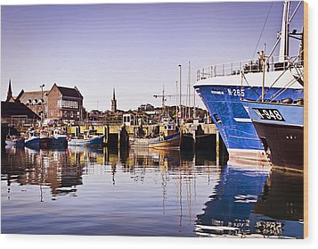 Moored Up Wood Print by Chris Cardwell