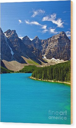 Moraine Lake Wood Print by James Steinberg and Photo Researchers