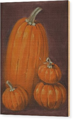 More Pumpkins Wood Print by Linda Eades Blackburn