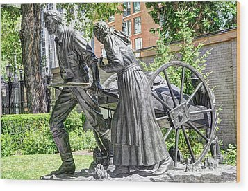 Mormon History - Hand Cart Statue Wood Print by Gary Whitton