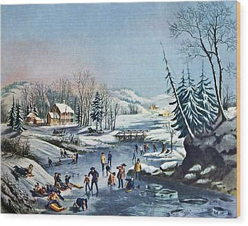 Morning By Currier And Ives Wood Print by Susan Leggett