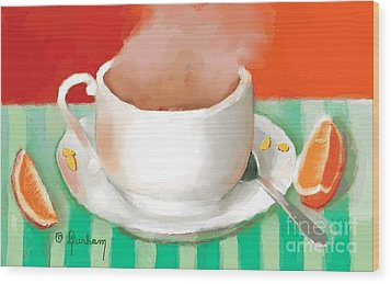 Morning Coffee Wood Print by Dessie Durham