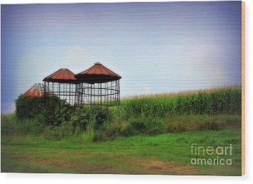 Morning Corn Wood Print by Perry Webster