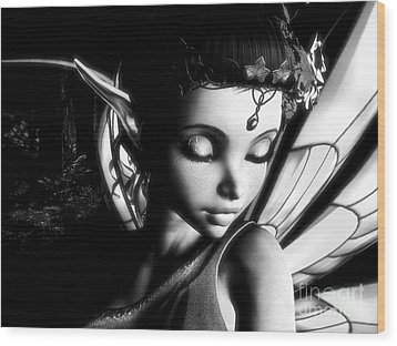 Morning Fairy Bw Wood Print by Alexander Butler