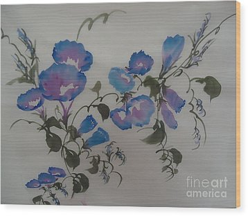 Wood Print featuring the painting Morning Glory--2011 by Dongling Sun