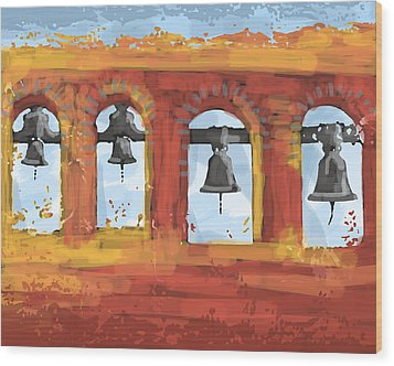 Morning Mission Bells Wood Print