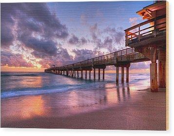 Morning Pier Wood Print by Debra and Dave Vanderlaan