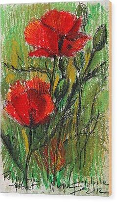 Morning Poppies Wood Print by Mona Edulesco
