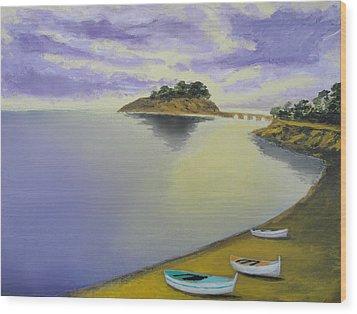 Morning Sea Wood Print by Larry Cirigliano