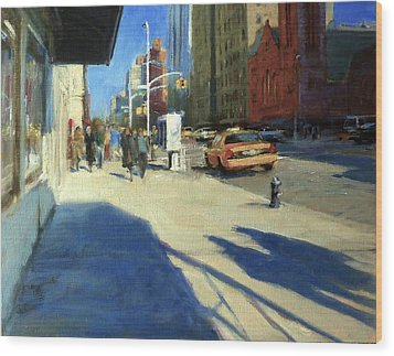 Morning Shadows On Amsterdam Avenue  Wood Print by Peter Salwen