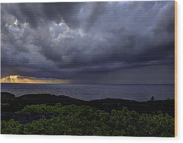 Morning Squall Wood Print by Mike Herdering