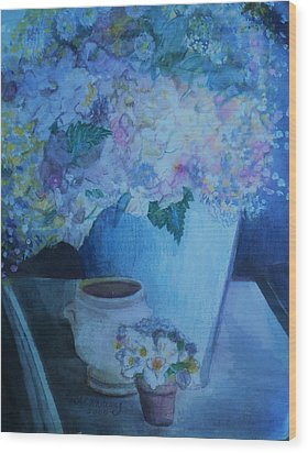 Morning Table Bouquet And Cups  The Cropped Version Wood Print by Anne-Elizabeth Whiteway
