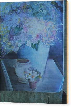 Morning Table With Bouquet And Cups Wood Print by Anne-Elizabeth Whiteway