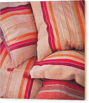 Moroccan Cushions Wood Print by Tom Gowanlock