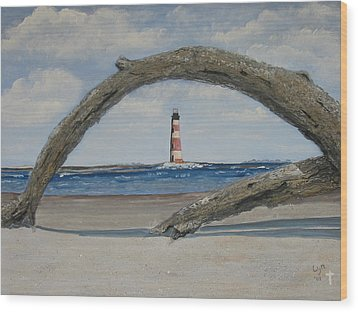Wood Print featuring the painting Morris Island Perspective by Lyn Calahorrano