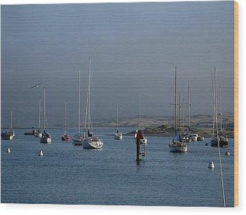 Morro Bay Boats Wood Print by Kathy Long