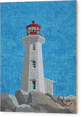 Mosaic Lighthouse Wood Print by Kerri Ertman