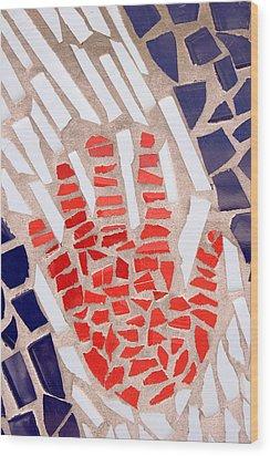 Mosaic Red Hand Wood Print by Carol Leigh