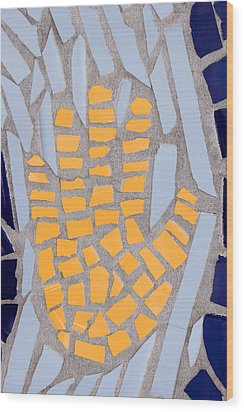 Mosaic Yellow Hand Wood Print by Carol Leigh