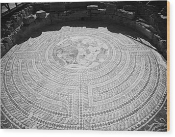 Mosaics On The Floor Of The House Of Theseus Roman Villa At Paphos Archeological Park Cyprus Wood Print by Joe Fox