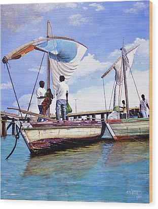 Wood Print featuring the painting Mosambique Fishermen by Stuart B Yaeger