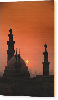Mosques And Sunset In Cairo, Egypt Wood Print by Glen Allison