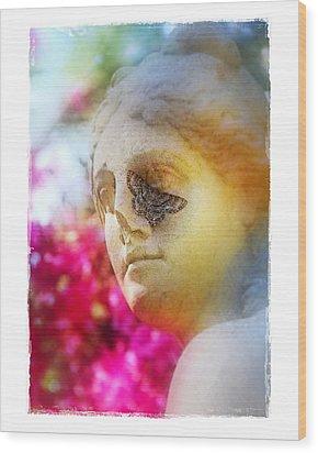 Moth On Statue Wood Print by Judi Bagwell