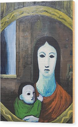 Mother And A Child In The Mirror Wood Print by Kazuya Akimoto