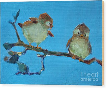Mother And Baby Bird Wood Print