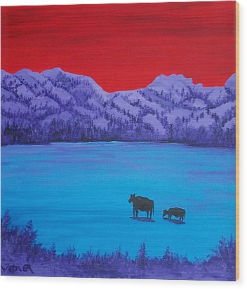 Mother And Calf Wood Print by Randall Weidner