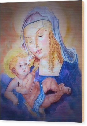 Mother And Child Wood Print by Myrna Migala
