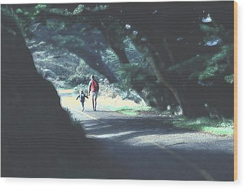 Mother And Child Walking Through Point Reyes Park Wood Print by Tom Wurl