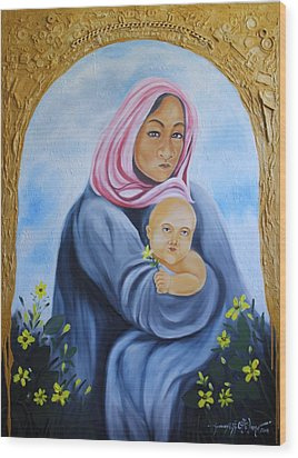 Mother And Child With Yellow Flowers Wood Print by Johnny Otilano